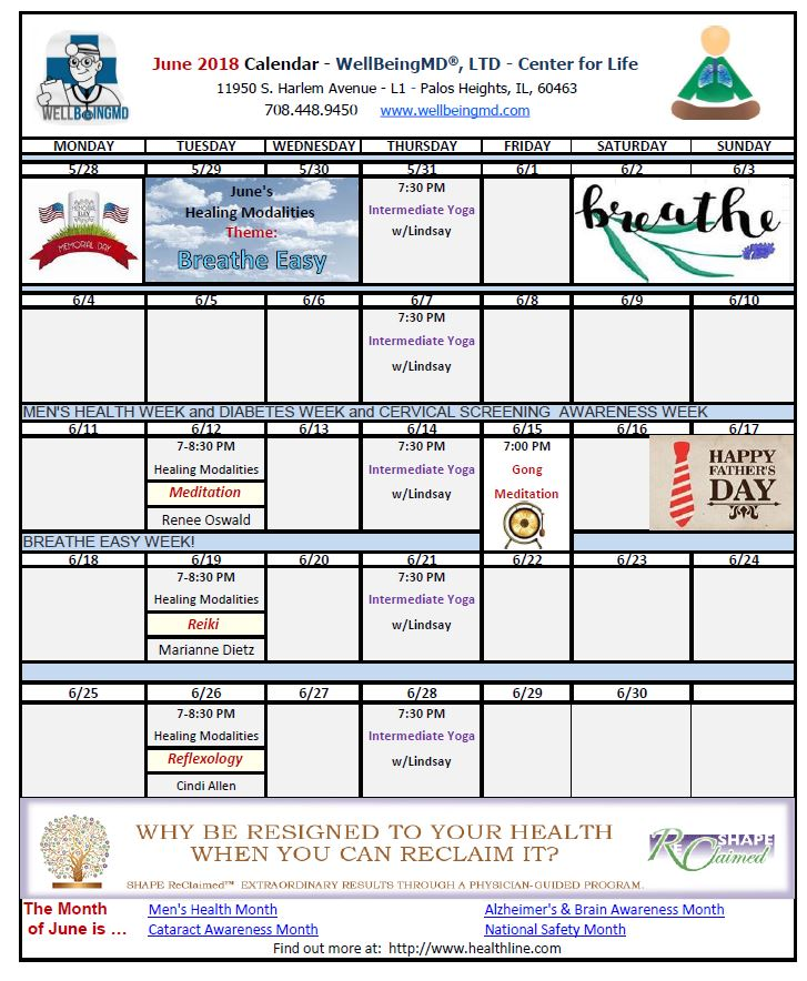June Calendar Events : Printable june calendarwellbeingmd℠ palos park il